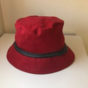 Coach Red Bucket Hat with leather trim